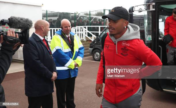 Southampton's Mario Lemina arrives ahead of the Premier League match between Stoke City and Southampton at the Bet365 Stadium on September 30 2017 in...
