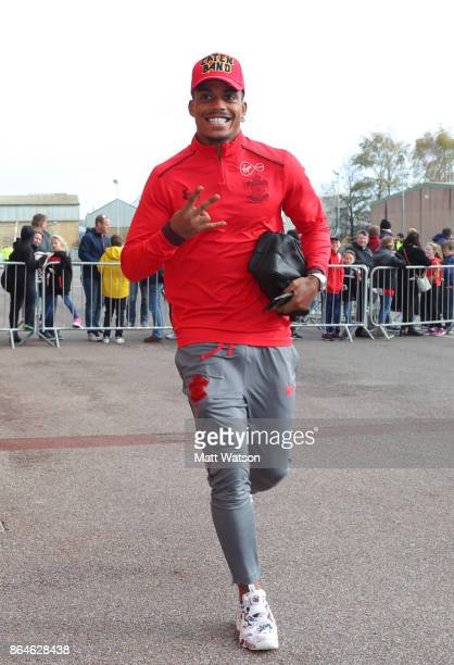 Southampton's Mario Lemina arrives ahead of the Premier League match between Southampton and West Bromwich Albion at St Mary's Stadium on October 21...