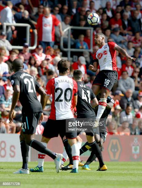 Southampton's Mario Lemina during the Premier League match between Southampton and West Ham United at St Mary's Stadium on August 19 2017 in...