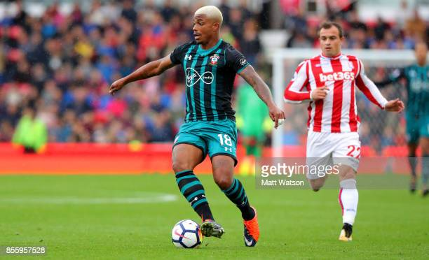 Southampton's Mario Lemina during the Premier League match between Stoke City and Southampton at the Bet365 Stadium on September 30 2017 in Stoke on...