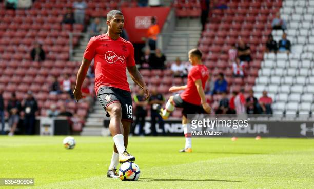 Southampton's Mario Lemina warms up ahead of making his debut during the Premier League match between Southampton and West Ham United at St Mary's...