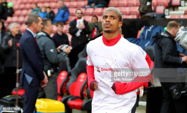 Southampton's Mario Lemina warms up ahead of the Premier League match between Southampton and West Bromwich Albion at St Mary's Stadium on October 21...