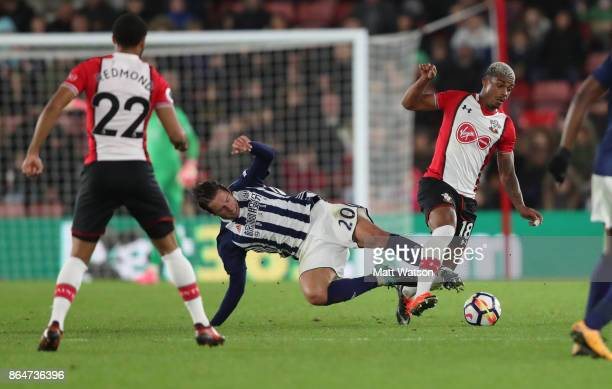 Southampton's Mario Lemina wins the ball from Grezgorz Krychowiak during the Premier League match between Southampton and West Bromwich Albion at St...