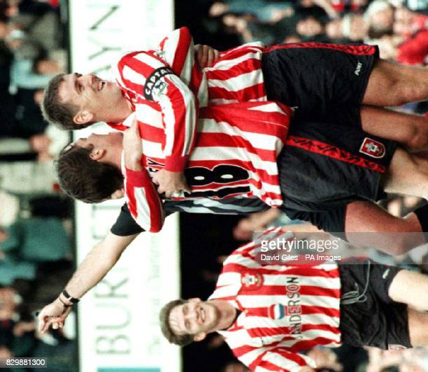 Southampton's Matthew Le Tissier celebrates with Matthew Oakley after scoring his teams second goal against Manchester United during their FA Carling...