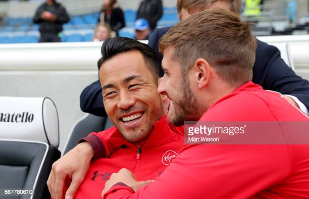 Southampton's Maya Yoshida and Jack Stephens ahead of the Premier League match between Brighton and Hove Albion and Southampton at the Amex Stadium...