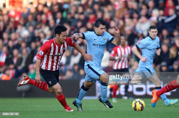 Southampton's Maya Yoshida and Manchester City's Sergio Aguero battle for the ball