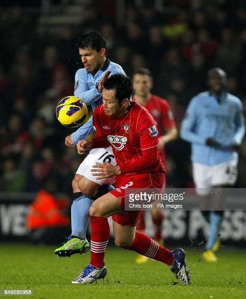 Southampton's Maya Yoshida and Manchester City's Sergio Aguero battle for the ball