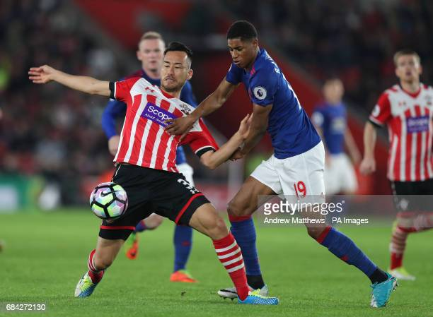 Southampton's Maya Yoshida and Manchester United's Marcus Rashford battle for the ball during the Premier League match at St Mary's Southampton