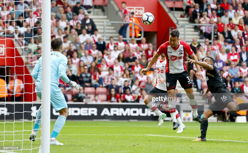 Southampton's Maya Yoshida heads over during the Premier League match between Southampton and Swansea City at St Mary's Stadium on August 12, 2017 in Southampton, England.