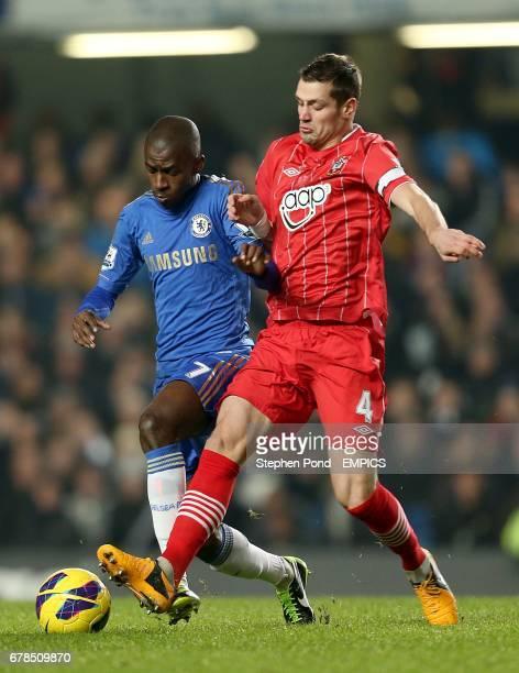 Southampton's Morgan Schneiderlin and Chelsea's Nascimento Ramires battle for the ball