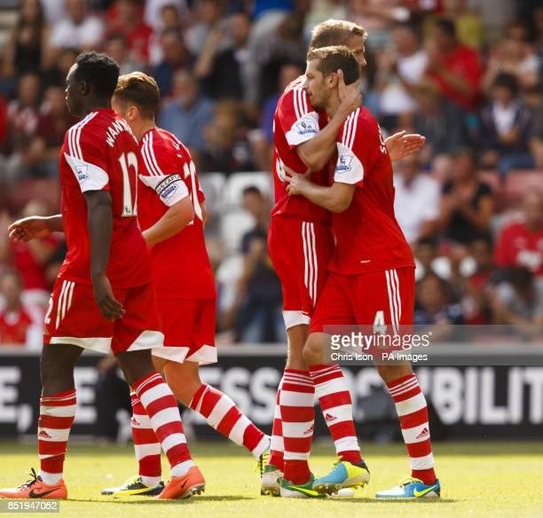 Southampton's Morgan Schneiderlin celebrates scoring during the Preseason Friendly against Real Sociedad at St Mary's Stadium Southampton