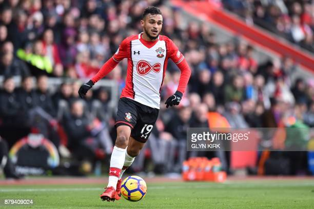 Southampton's Moroccan midfielder Sofiane Boufal runs with the ball during the English Premier League football match between Southampton and Everton...