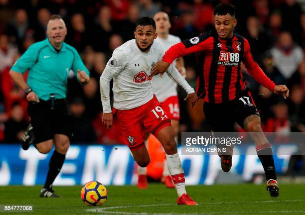 Southampton's Moroccan midfielder Sofiane Boufal vies with Bournemouth's Norwegian striker Joshua King during the English Premier League football...