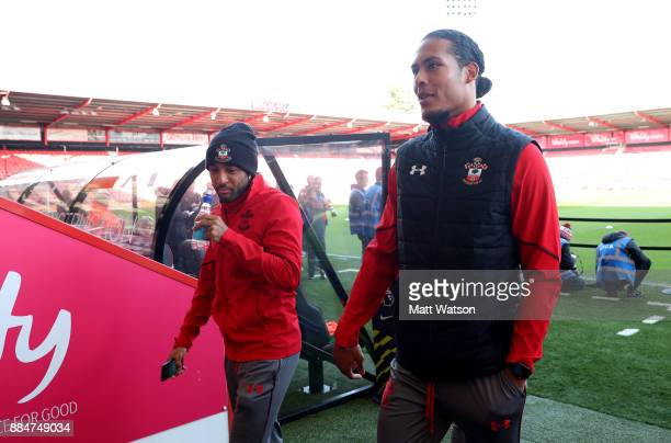 Southampton's Nathan Redmond and Virgil Van Dijk during the Premier League match between AFC Bournemouth and Southampton at the Vitality Stadium on...