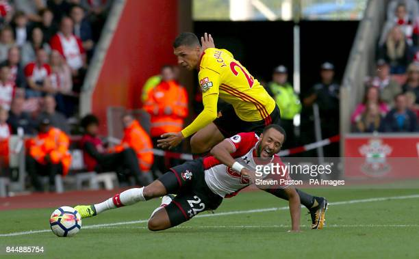 Southampton's Nathan Redmond and Watford's Jose Holebas battle for the ball during the Premier League match at St Mary's Stadium Southampton