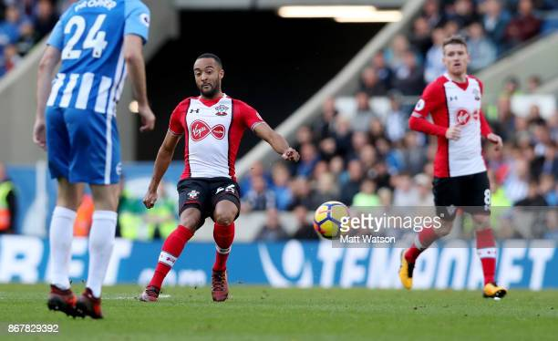 Southamptonâs Nathan Redmond during the Premier League match between Brighton and Hove Albion and Southampton at the Amex Stadium on October 28 2017...