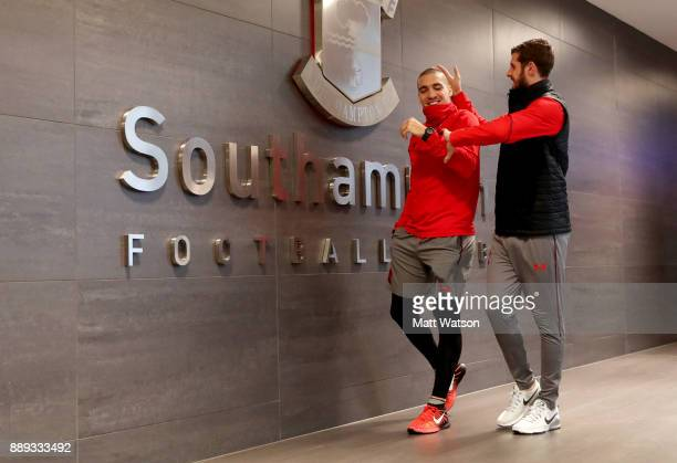 Southampton's Oriol Romeu and Jack Stephens ahead of the Premier League match between Southampton and Arsenal at St Mary's Stadium on December 10...