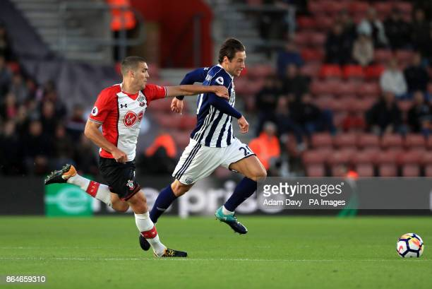 Southampton's Oriol Romeu and West Bromwich Albion's Grzegorz Krychowiak battle for the ball during the Premier League match at St Mary's Stadium...
