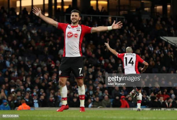 Southamptonâs Oriol Romeu wheels away to celebrate after equalising during the Premier League match between Manchester City and Southampton at the...