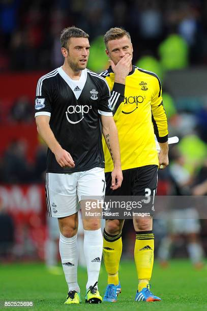 Southampton's Rickie Lambert and goalkeeper Artur Boruc after the final whistle