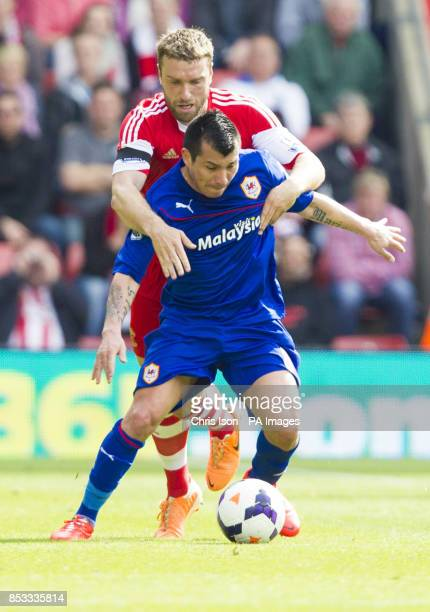 Southampton's Rickie Lambert in action against Cardiff City's Gary Medel during the Barclays Premier League match at St Mary's Southampton
