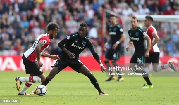 Southampton's Ryan Bertrand and West Ham United's Edimilson Fernandes during the Premier League match between Southampton and West Ham United at St...