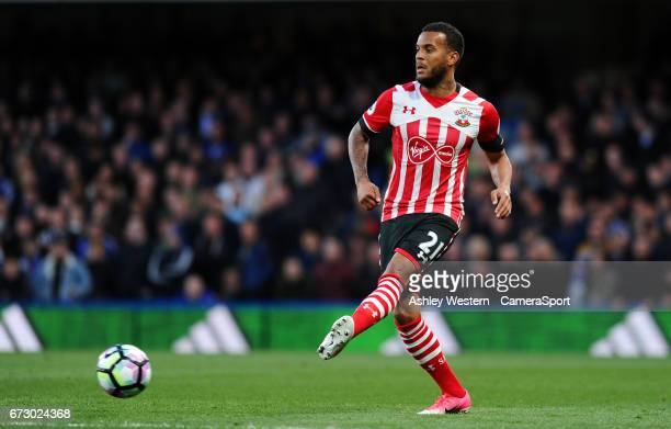Southampton's Ryan Bertrand in action during the Premier League match between Chelsea and Southampton at Stamford Bridge on April 25 2017 in London...