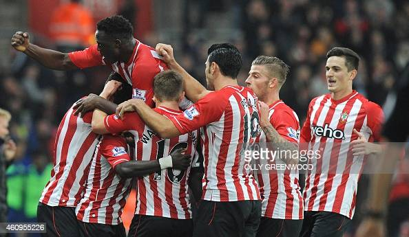 Southampton's Sadio Mane celebrates after scoring his teams first goal during the English Premier League football match between Southampton and...