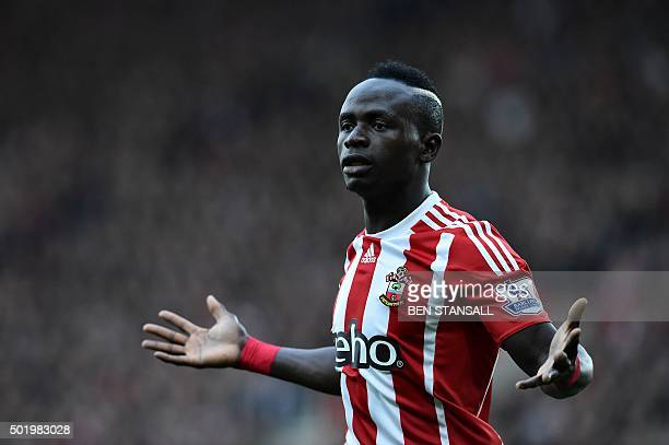 Southampton's Senegalese midfielder Sadio Mane reacts after missing a chance during the English Premier League football match between Southampton and...