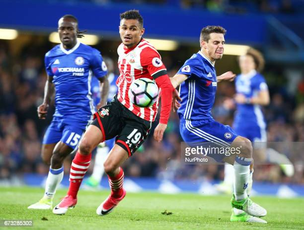 Southampton's Sofiane Boufal and Chelsea's Cesar Azpilicueta during the Premier League match between Chelsea and Southampton at Stamford Bridge...