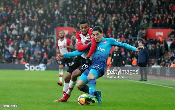 Southampton's Sofiane Boufal and Hector Bellerin during the Premier League match between Southampton and Arsenal at St Mary's Stadium on December 10...