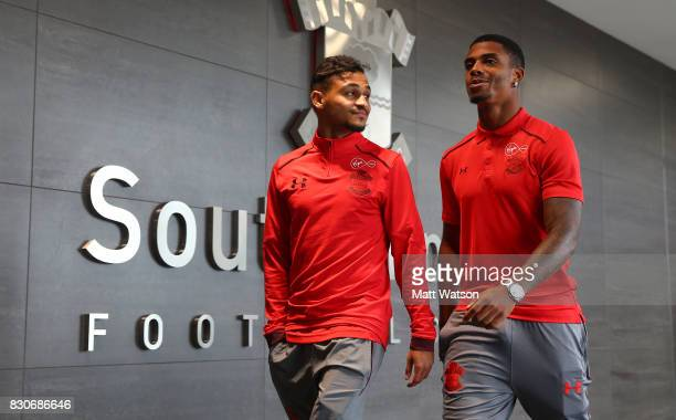 Southampton's Sofiane Boufal and Mario Lemina ahead of the Premier League match between Southampton and Swansea City at St Mary's Stadium on August...