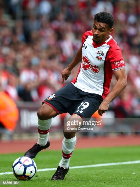 Southampton's Sofiane Boufal during the Premier League match between Southampton and Swansea City at St Mary's Stadium on August 12 2017 in...
