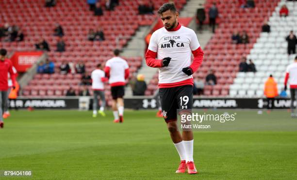 Southampton's Sofiane Boufal warms up ahead of the Premier League match between Southampton and Everton at St Mary's Stadium on November 26 2017 in...