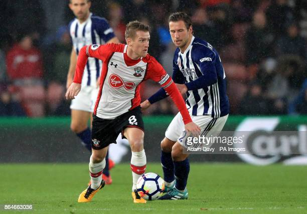 Southampton's Steven Davis and West Bromwich Albion's Grzegorz Krychowiak battle for the ball during the Premier League match at St Mary's Stadium...