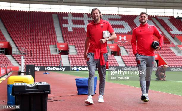 Southampton's Stuart Taylor and Jack Stephens arrive ahead of the Premier League match between Southampton and Watford at St Mary's Stadium on...
