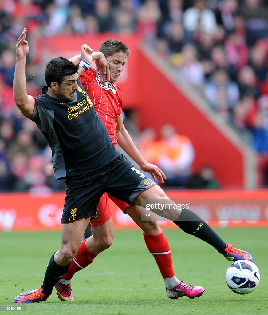 "Southampton's Uruguayan midfielder Gaston Ramirez (L) vies with Liverpool's Spanish defender Sanchez Jose Enrique during the English Premier League football match between Southampton and Liverpool at St Mary's Stadium in Southampton on March 16, 2013. Southampton won 3-1. AFP PHOTO/ Olly GREENWOOD - RESTRICTED TO EDITORIAL USE. No use with unauthorized audio, video, data, fixture lists, club/league logos or ""live"" services. Online in-match use limited to 45 images, no video emulation. No use in betting, games or single club/league/player publications."