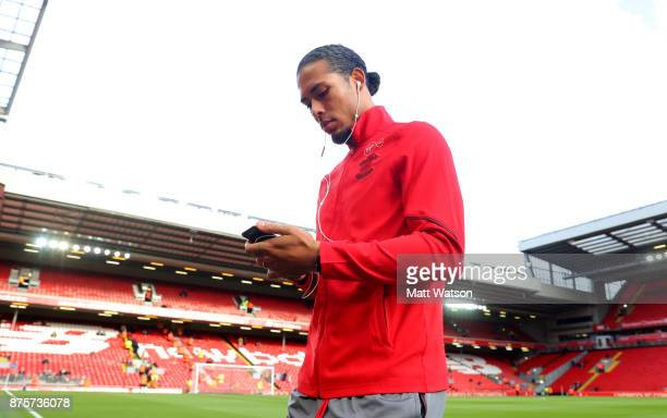 Southampton's Virgil Van Dijk ahead of the Premier League match between Liverpool and Southampton at Anfield on November 18 2017 in Liverpool England