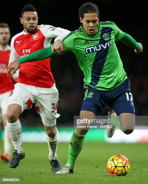 Southampton's Virgil Van Dijk and Arsenal's Francis Coquelin battle for the ball