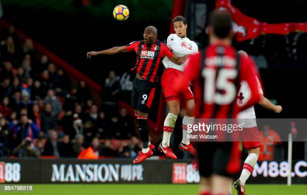 Southampton's Virgil Van Dijk and Benik Afobe during the Premier League match between AFC Bournemouth and Southampton at the Vitality Stadium on...