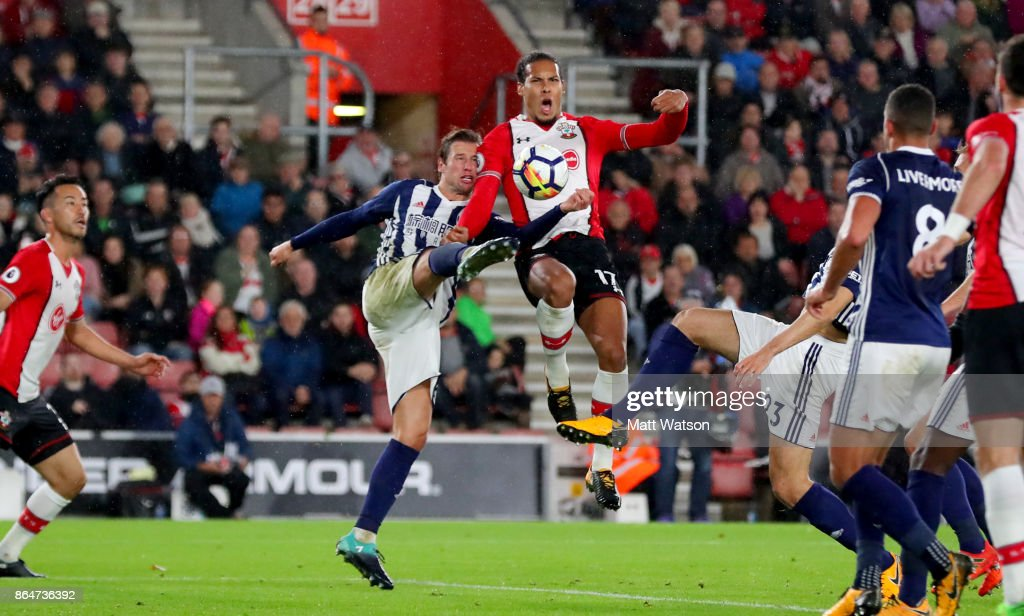 Southampton's Virgil Van Dijk (right) and Grezgorz Krychowiak during the Premier League match between Southampton and West Bromwich Albion at St Mary's Stadium on October 21, 2017 in Southampton, England.