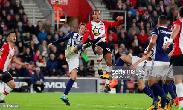 Southampton's Virgil Van Dijk and Grezgorz Krychowiak during the Premier League match between Southampton and West Bromwich Albion at St Mary's...
