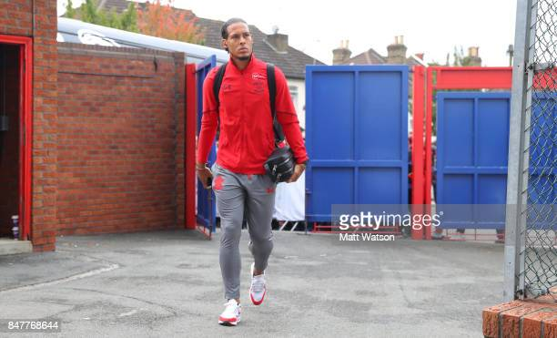 Southampton's Virgil Van Dijk arrives ahead of the Premier League match between Crystal Palace and Southampton at Selhurst Park on September 16 2017...