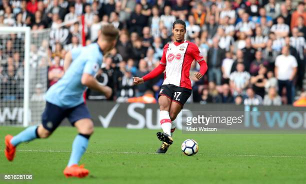 Southampton's Virgil Van Dijk during the Premier League match between Southampton and Newcastle United at St Mary's Stadium on October 15 2017 in...