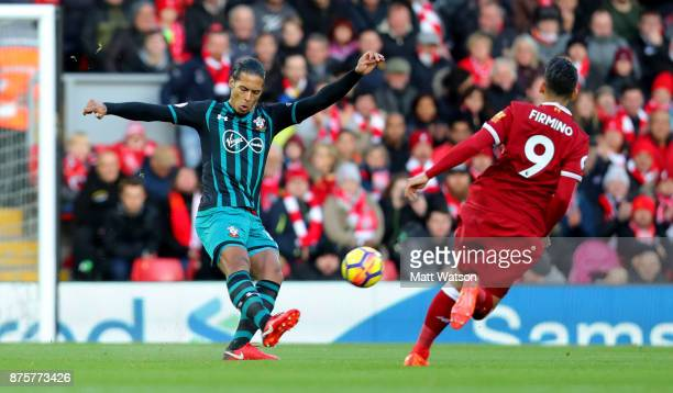 Southampton's Virgil Van Dijk during the Premier League match between Liverpool and Southampton at Anfield on November 18 2017 in Liverpool England