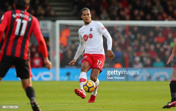 Southampton's Virgil Van Dijk during the Premier League match between AFC Bournemouth and Southampton at the Vitality Stadium on December 3 2017 in...