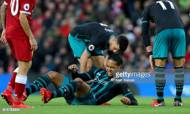 Southampton's Virgil Van Dijk feels the affects of a tackle during the Premier League match between Liverpool and Southampton at Anfield on November...