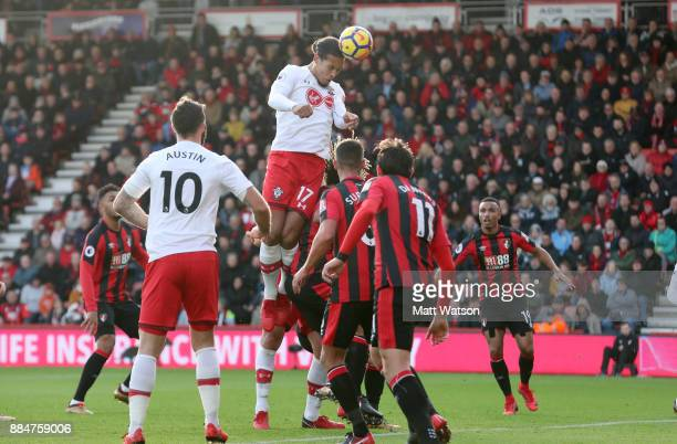 Southampton's Virgil Van Dijk heads at goal during the Premier League match between AFC Bournemouth and Southampton at the Vitality Stadium on...
