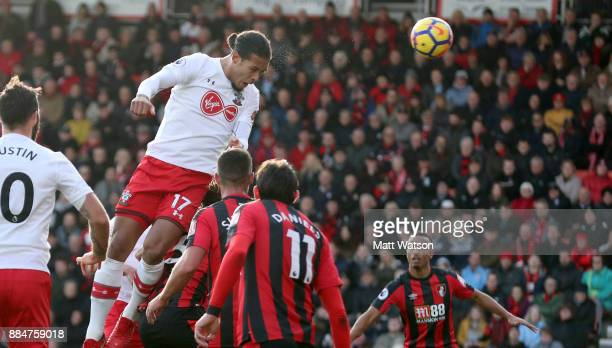Southamptonâs Virgil Van Dijk heads at goal during the Premier League match between AFC Bournemouth and Southampton at the Vitality Stadium on...