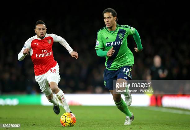 Southampton's Virgil van Dijk in action with Arsenal's Francis Coquelin